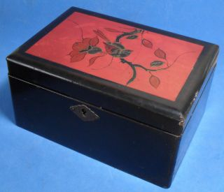 Vintage,  Antique Japanese Lacquer Box Red Panel,  Hand Painted Gold & Black Bird photo
