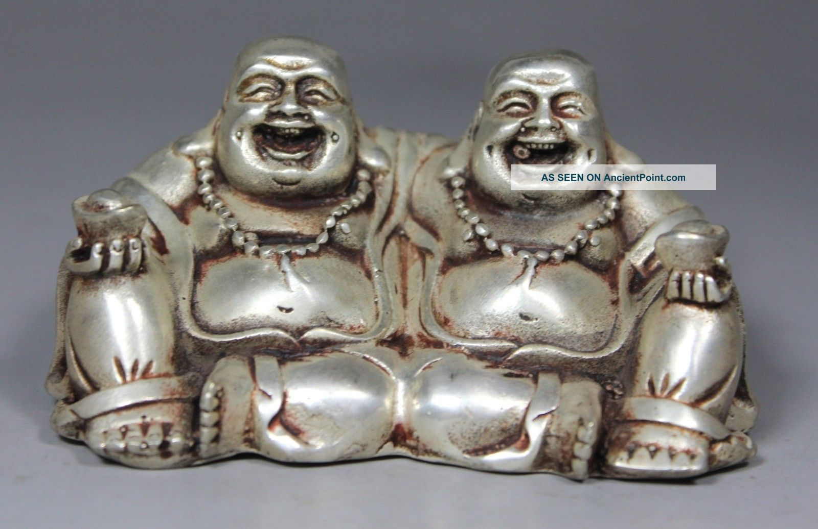 Chinese Old Copper Wonderful Handwork Hammered Brothers Happy Buddha Statue Buddha photo