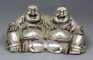 Chinese Old Copper Wonderful Handwork Hammered Brothers Happy Buddha Statue photo