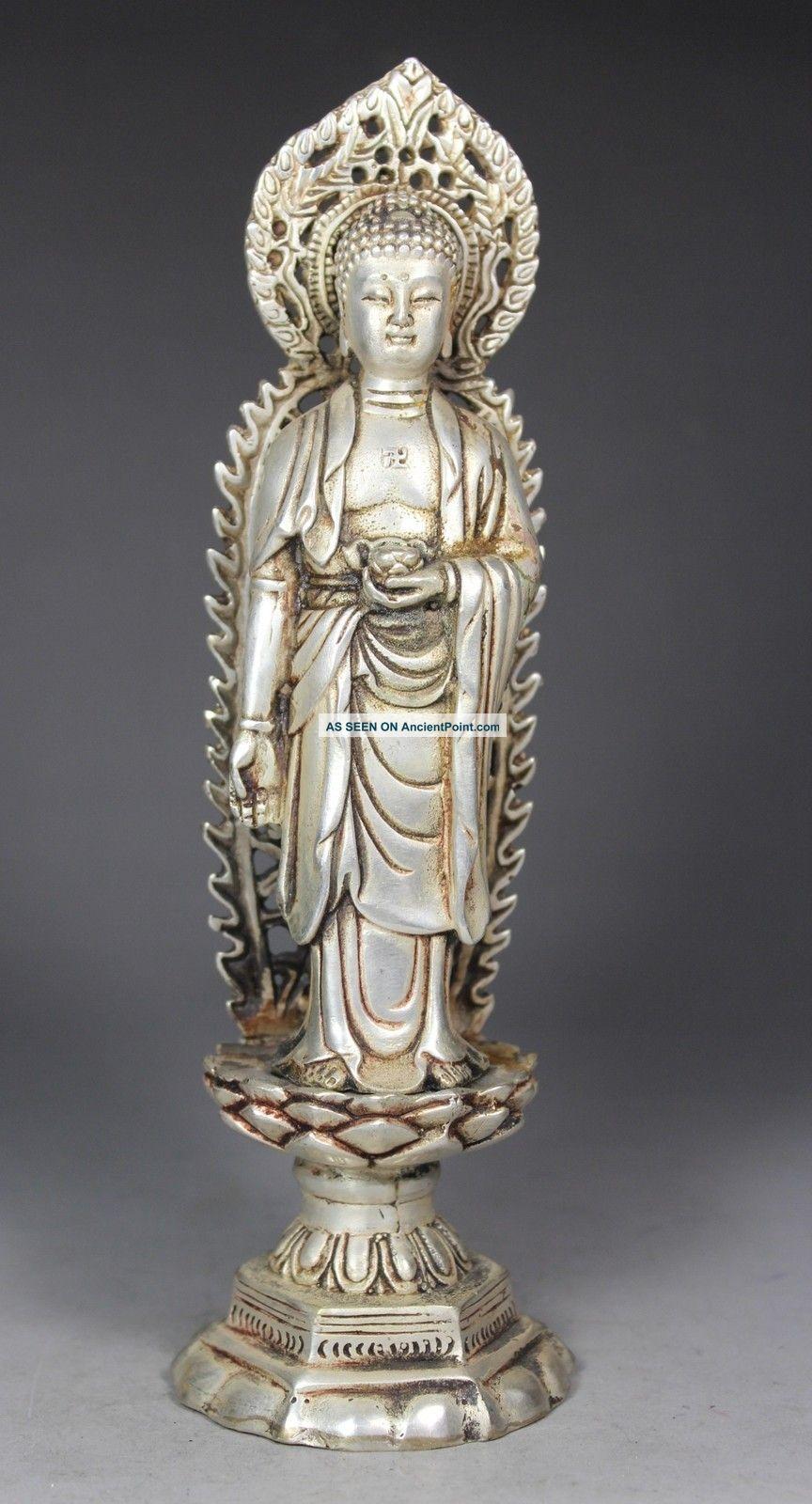 Chinese Old White Copper Wonderful Handwork Hammered Buddha Statue Buddha photo