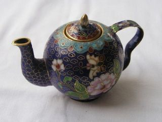 Small Chinese Cloisonne Enamel Teapot 1950s Nr 1503 photo