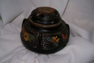 Antique Made In Japan 1921 - 1941 Pottery/ceramic Painted Japanese Incense Burner photo
