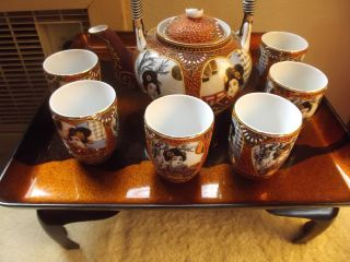 Kutani Teapot Porcelain Japanese Japan And 6 Cups / With Tray (see Pictures) photo