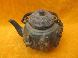 Chinese Bronze Wine Pot Carven The Eight Immortals Lid Old 23 photo