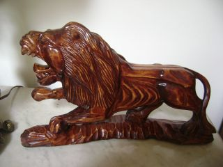 Antique Rare Large Chinese Hand Carved Foo Dog/lion/wooden Statue 13 X 8 photo