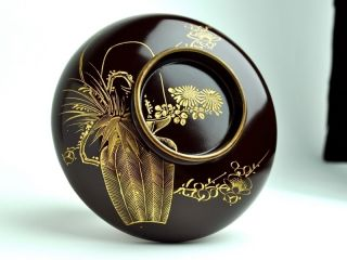 Antique Japanese Brown Urushi Lacquer Bowl Flowers 8500 photo