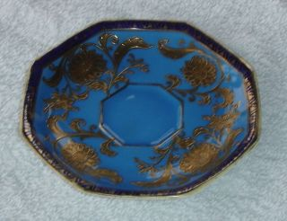 Stunning Japanese Noritake Blue & Gold Porcelain Dish / Saucer photo