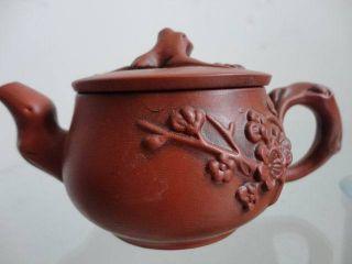 Chinese Yixing Zisha Teapot Purplish Red Carven Wintersweet Exquisite 09 photo