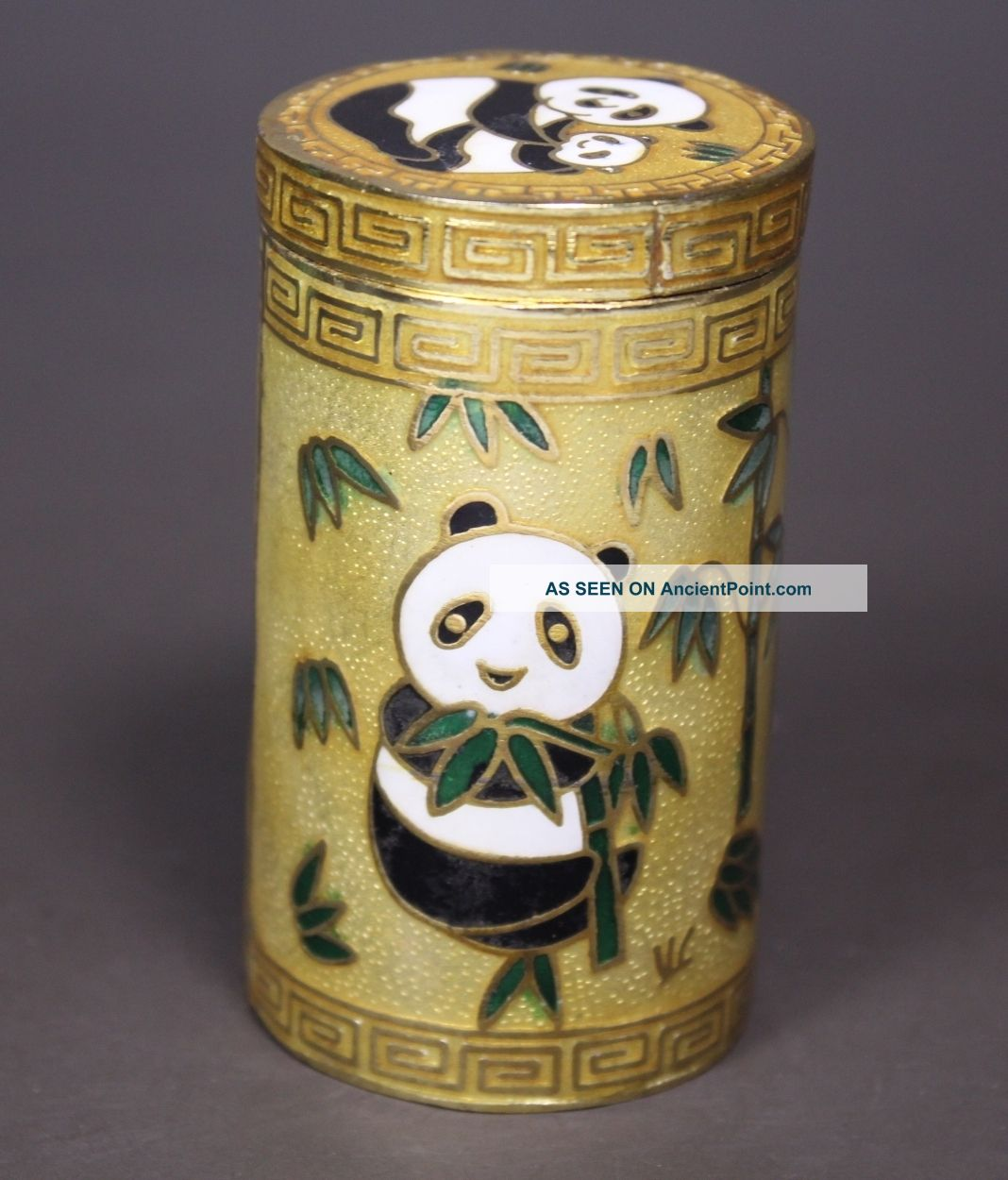 Chinese Old Cloisonne Handwork Painting Panda Toothpick Box Boxes photo