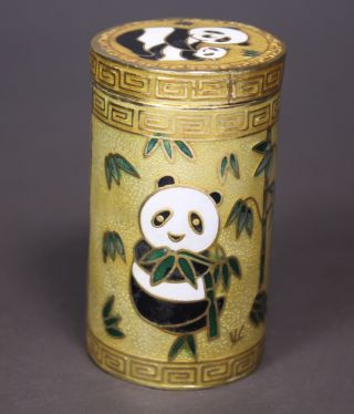 Chinese Old Cloisonne Handwork Painting Panda Toothpick Box photo