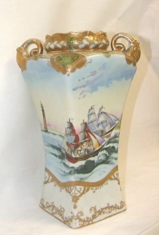 Antique Hand Painted Imperial Japanese Nippon Vase photo