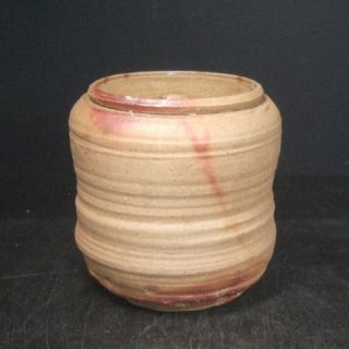 E773: Japanese Old Bizen Pottery Ware Cold Water Container Good Natural Glaze. photo