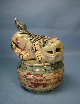 Rare Vintage Porcelain Foo Dog On Drum C photo