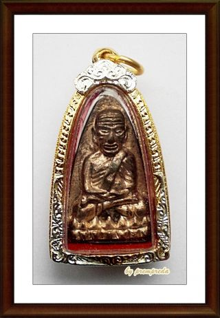 Invaluable 19year Lp Tuad Somdej Phra Sangkharat Bless Thai Buddha Amulet No.  748 photo