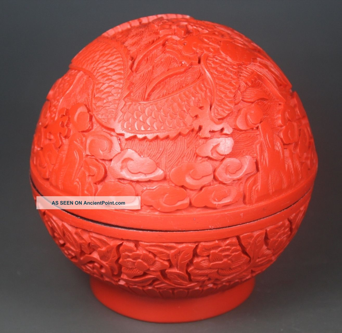 Chinese Handwork Carving Dragon Old Lacquer Jewel Box Boxes photo