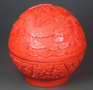Chinese Handwork Carving Dragon Old Lacquer Jewel Box photo