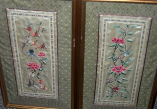 Set 2 Chinese Embroidery Silk Panels Artist Created Floral Bird Butterfly Vg photo
