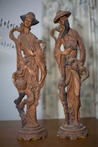 Pair Of Antique Chinese Statues/figurines photo