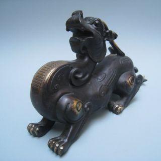 19th Century Chinese Bronze Poseidon ' S Son Wealth Brave Pixiu Nr photo
