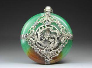 Chinese Old Jade Handwork Armored Dragon Phoenix Pendant photo
