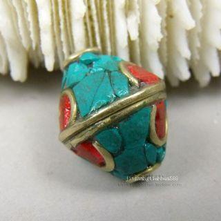 Js150 Chinese Tibetan Handmade Turquoise Brass Dzi Beads Pendant photo