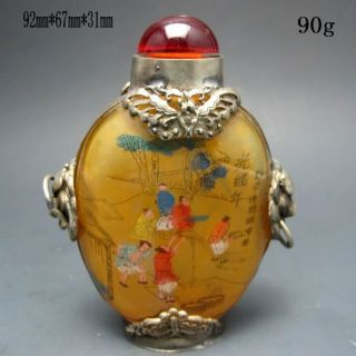 Chinese Inside Hand Painted Glass Snuff Bottle Nr/nc2046 photo