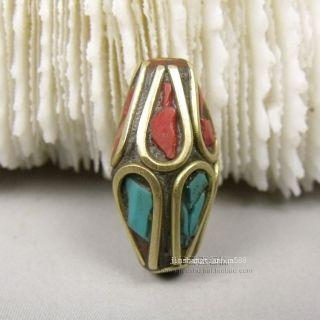 Js149 Chinese Tibetan Handmade Turquoise Brass Dzi Beads Pendant photo