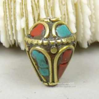 Js152 Chinese Tibetan Handmade Turquoise Brass Dzi Beads Pendant photo