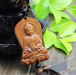 African Rosewood Carved Buddha Shakyamuni Statue Amulet Handmade Netsuke photo