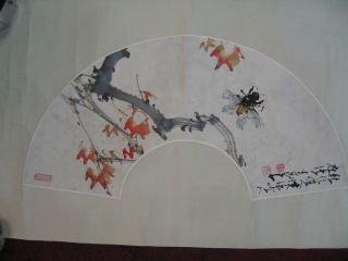 Chinese Painting Cicada And Red Leavs photo