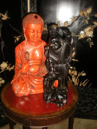 Antique Chinese Carved Boxwood Sennin Buddha Reaching Standing On Top A Dog 19c. photo