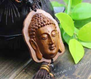 African Rosewood Carved Buddha Shakyamuni Head Statue Amulet Handmade Netsuke photo