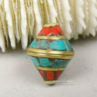 Js753 Chinese Tibetan Handmade Turquoise Brass Dzi Beads Pendant photo