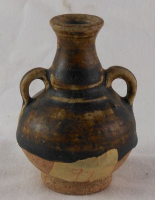 Great Small Antique Ancient Chinese Se Asian Brown Glaze 2 Handle Vase photo