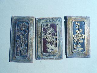 80.  Antique Carved Gold Gilt Wood Panel 3pcs/set W/ Flower photo
