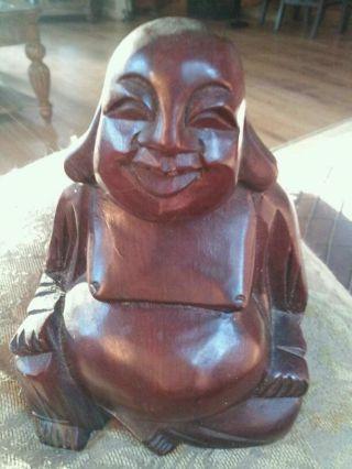 Vintage Wood Hand Carved Buddha Statue Figure Figurine photo