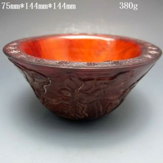 Old Antique 18 - 19th Chinese Ox Horn Carved Lotus Bowl Nr/pc1474 photo