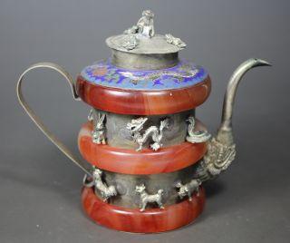 Chinese Old Jade/ Closionne Wonderful Handwork Armored 12 Animal Tea Pot ☆☆☆☆☆ photo