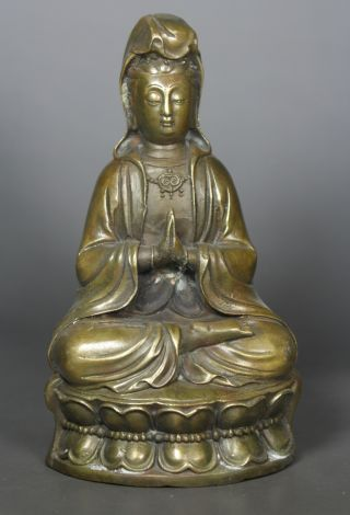 Chinese Old Copper Handwork Kwan - Yin Statue photo