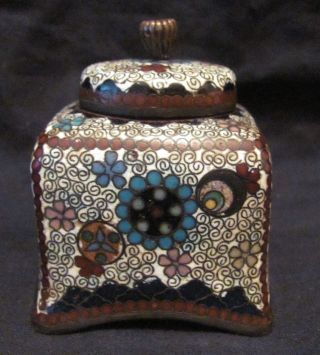 Fine Meiji Period Japanese Cloisonne Ink Stand Inkwell photo