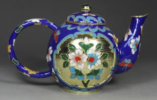 Chinese Handwork Painting Flower Old Cloisonne Tea Pot photo