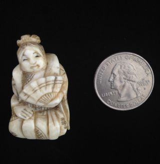 Early Faux Ivory Netsuke Japanese - Carving Of Charming Woman photo