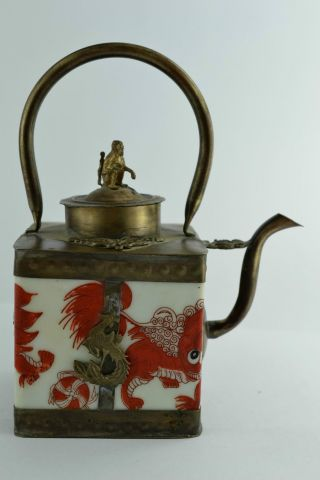 - China Collectibles Old Handwork Porcelain Kylin Portable Tea Pot photo