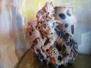 Antique Chinese Qing Dynasty Calico Soapstone Carving Of Foo Fu Lion Dog Family photo