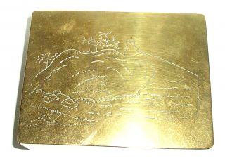 Vintage Chinese Heavy Solid Brass Engraved Lid Trinket Box ~ 350gms photo