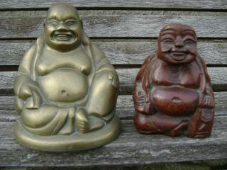 Antique Qing Chinese Bronze Buddha Buddah And Wood Buddha photo