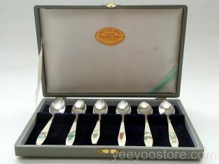 Unusual & Old Japanese Sterling Silver Boxed Tea/coffee Demi - Tasse Spoons photo