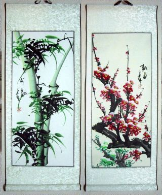 2 Japanese Calligraphy /paintings Scroll Flower & Bamboo 384 photo