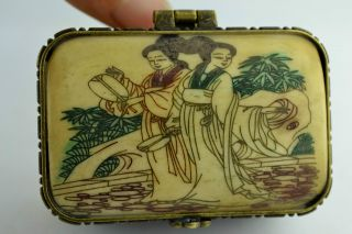 Free - Ship China Collectibles Old Handwork Painting Beauty Two Layer Jewel Box photo