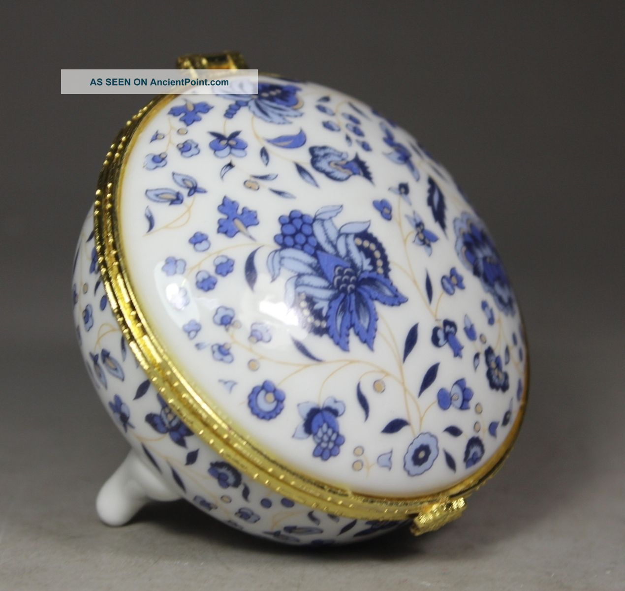 Chinese Porcelain Handwork Painting Flower Jewel Box Boxes photo